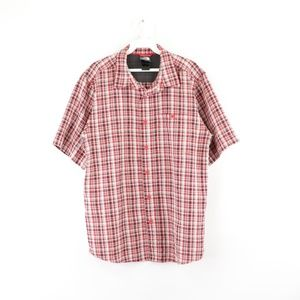 The North Face Mens Medium Plaid Hiking Shirt Red